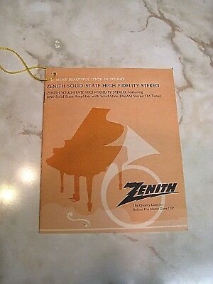 1970's ZENITH - Brochure / Hang tag - 60W SOLID STATE CONSOLE - MICRO TOUCH 2G