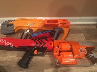 lot of nerf guns.  Doomlands, Rival, Flipfury