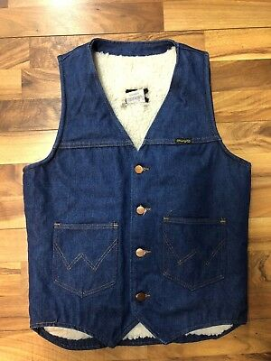 Vintage Wrangler Western Jean Vest Mens Small Sherpa Lined USA Made GUC