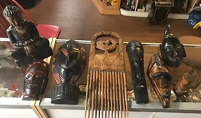 Lot Of 8 Vintage Wood Carvings And Masks