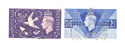 1946 GREAT BRITAIN VICTORY ISSUE 2 1/2d AND 3d KING GEORGE VI  #46