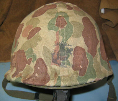 LATE WWII KOREAN WAR M1 HELMET WITH USMC 1st PATTERN HELMET COVER, MINTY!!