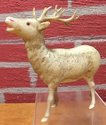 """Vintage Celluloid Reindeer VGC Made in Japan - 5"""" Tall, 5"""" Long"""