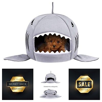 Cave Bed Shark Pet House for Small Medium Dog Cats with Removable Cushion