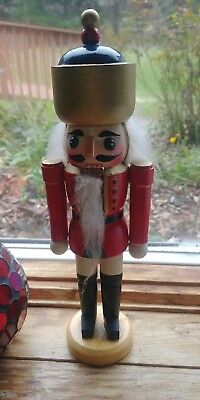 "10"" Wooden Nutcracker Red cream solder Oriental Hat Classic design with Box"