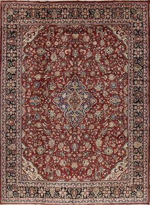 Top Quality Old Semi Antique Floral 10x14 Wool Sarouk Oriental Area Rug