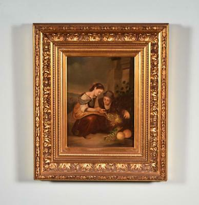 *Antique Oil on Tin Painting of People Looking at Grapes with Gilt Frame