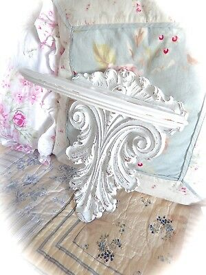 SHABBY Vintage ORNATE Syroco WOOD Small WHITE Wall SHELF Cottage CHIC Fancy OLD