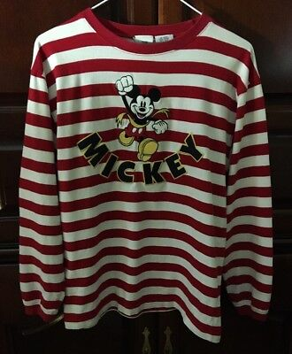 Disney Running MICKEY on Red & White Stripes Long Sleeves  Cotton adult S NICE!