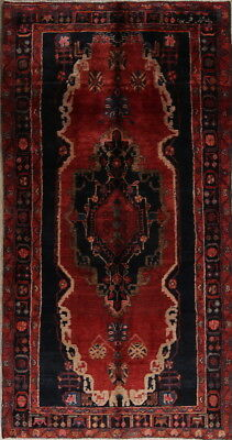 Enticing Decorative Geometric 4x9 Red Wool Malayer Oriental Runner Rug