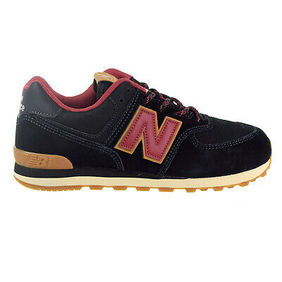 New Balance 574 Suede Big Kids' Shoes Black-Earth Red GC574-TT