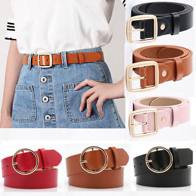 Women's Belt Lady Girl Leather Boho Metal Buckle Waistband Vintage Gift UK Stock