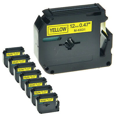 """8 PK MK631 M-K631 12mm 1/2"""" Black on Yellow Lable Tape For Brother P-touch 70HK"""