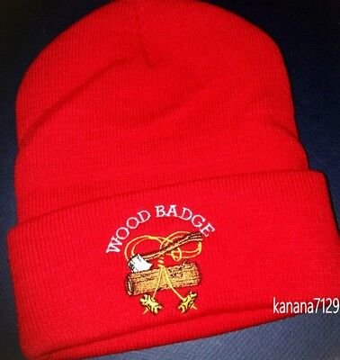 Wood Badge/Boy Scout Wood Badge 2 Beads Beanie Hat /Cap RED New