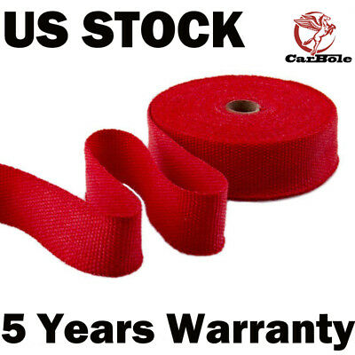 """Exhaust Manifolds Titanium Heat Wrap Tape Thermal Wrap Red 2"""" x 50FT  &10 Ties"""