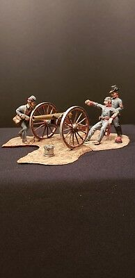 """St. Petersburg 54mm metal foot """"C.S.A."""" artillery/cannon and 3 figures!"""