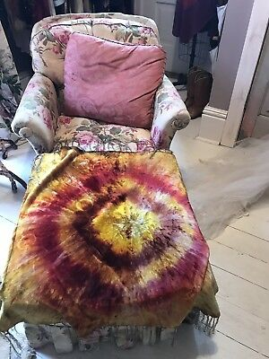 Huge Victorian Fringed Velvet Throw piano Scarf Bold Color Arts & Crafts Era 42""