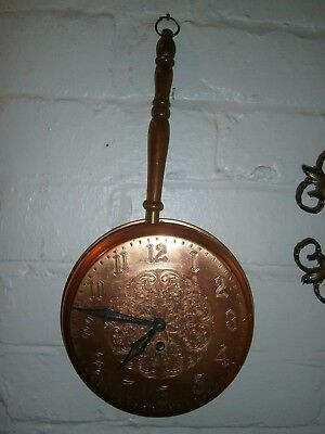 Vintage Smiths Industries Limited  Copper Frying Pan Wall Wind Up Clock