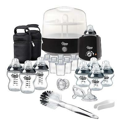Complete Feeding Set, Tippee Closer To Nature Black Bottle Milk Kit Tommee