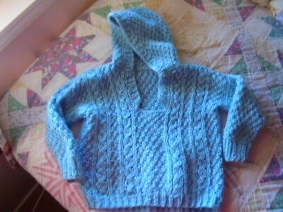 Vintage Child Knitted Sweater Cable Knit Vtg Childs Clothing 1940's Free Ship