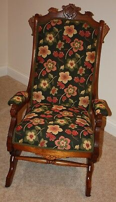 Antique Eastlake Carved Walnut Victorian Platform Rocker Reupholstered Black