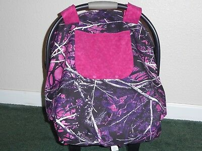 **MOONSHINE MUDDY GIRL** fitted w/peekaboo open Handmade Car Seat Canopy-Cover