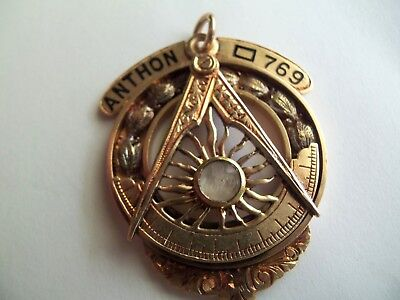 Masonic 14k Yellow Gold 11.8 Gram  Pendant Watch Master Mason Braxmar co.NY