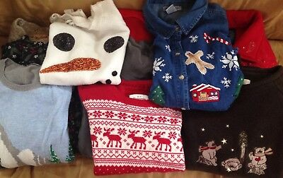Lot of 10 Ugly Christmas Sweaters Various Brands 3 Large 5 Medium 1 Small & 1 XS