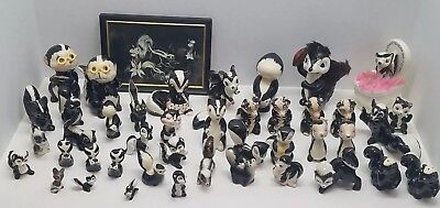 Huge Lot of Collectible Skunk Figurines Japan Napco Sonsco Relco Austria Kreiss