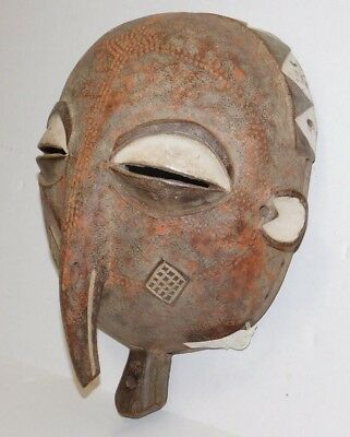Authentic Vtg Antique Wood Painted CHOKWE TRIBE Angola AFRICAN ART Carved Mask