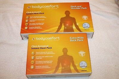Lot of 2 New Body Comfort Heat Pack Extra Wide Back Pack  &  Neck and Shoulder