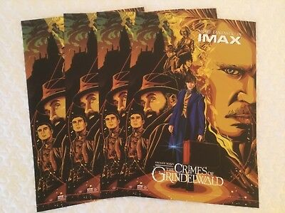 "Lot Of 4 - The Crimes Of Grindelwald 13"" X 19"" Promo Movie Poster Wb Imax New !"