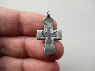 Ancient Silver Byzantine cross pendant, nicely carved and niello inlay