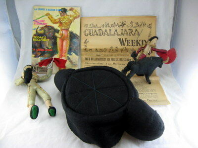 Antique VTG Matador Montera Bull Fighter Hat From Spain Mexico Embroidered Felt