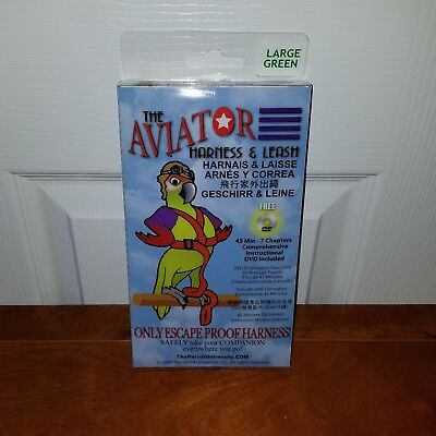 New - The AVIATOR Pet Bird Harness and Leash - Large/Green