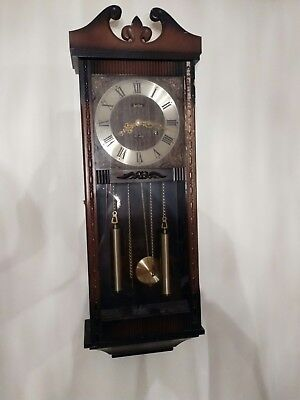 Vintage Wooden Long Case Wall Clock Made By Acctim With Key And Chimes