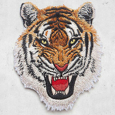 Tiger Head Embroidery Sew On Iron On Patch Badge Clothes Fabric Applique DIY