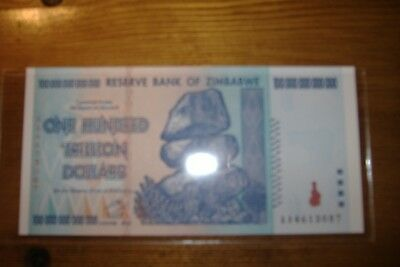 .Zimbabwe 100 Trillion Dollars,AA /2008, P-91 Uncirculated in protective sheath