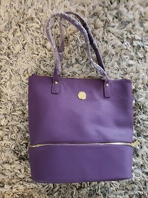 JOY MANGANO GENUINE Luxe Leather Zippered Everything Tote Handbag ... 9cb0a9450a