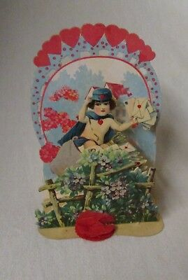 antique  Valentine card fold-out/stand-up die cut w/ cupid dressed as mailman
