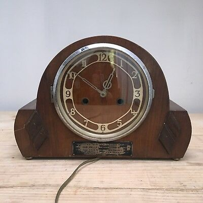 Vintage Electric Mantle Clock - Wooden Case - Spares or Repairs