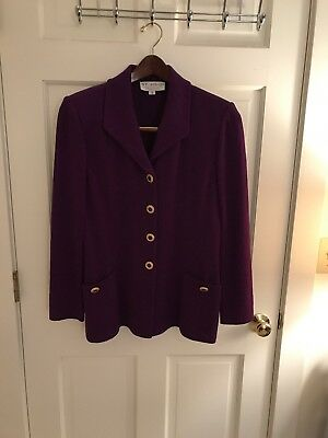 St. John Collection By Marie Gray Royal Purple Jacket With Jeweled Buttons 10