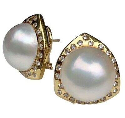 e404b17b0 18K Yellow Gold Diamond Large Mabe Pearl Domed Tiara Vintage Domed Earrings