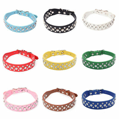 Dog Collar PU Leather Rhinestone 3 Row Diamante Bling Crystal Cat Puppy Pet UK