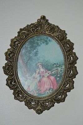 """6.5""""  or  5.5"""" Vintage Italy Ornate Brass Metal Framed Wall Victorian Picture"""