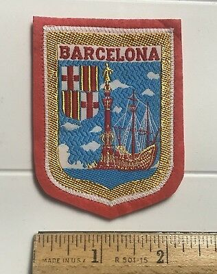 Barcelona Spain Espana Columbus Monument Sailing Ship Souvenir Woven Felt Patch