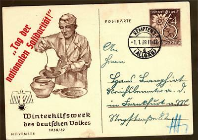 german empire WW II used post card  1939 with spec. red overprint
