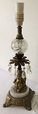 Vintage Brass/Marble/Glass Cupid Table Lamp