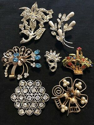 Lot Of 7 Vintage Rhinestone Brooches For Wear Resale Some Floral Motif