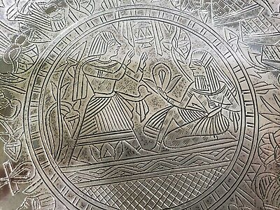 Antique Vintage Sterling Silver EGYPTIAN REVIVAL SNAKE ANIMALS PLATE 282 grams